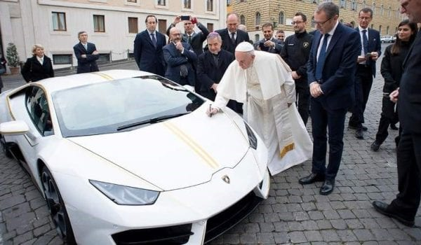 Ride a supercar signed by Pope Francis!!