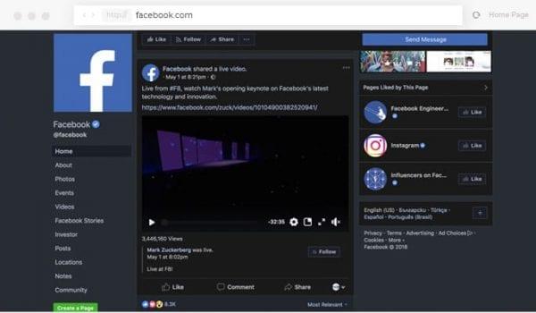 "Facebook's new ""Dark Mode"""